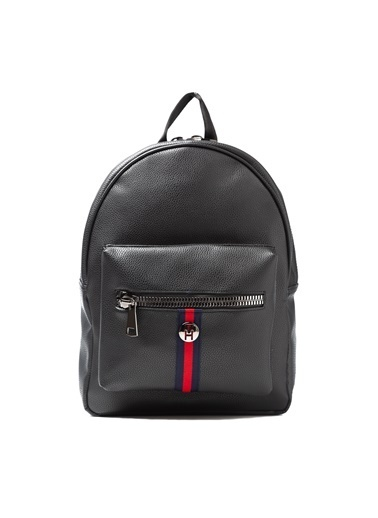 TH Bags TH Bags Fermuarlı Cepli Suni Deri Kadın Sırt Çantası Siyah